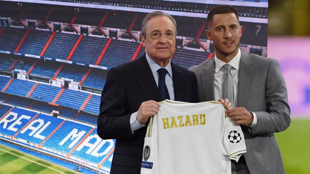 Présentation d'Eden Hazard au Real Madrid avec le président Florentino Pérez